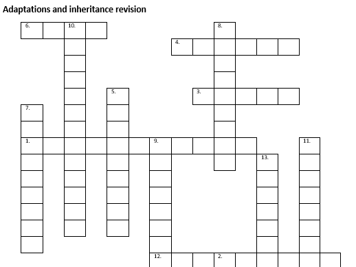 KS3 Adaptation and Inheritance revision crossword  WITH ANSWERS made using the kerboodle scheme