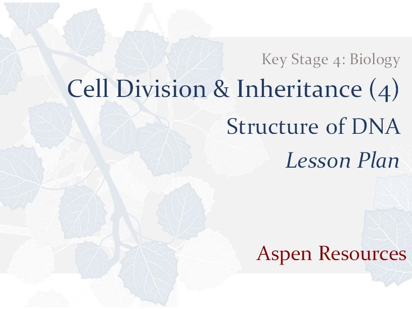 Structure of DNA  ¦  Key Stage 4  ¦  Biology  ¦  Cell Division & Inheritance (4)  ¦  Lesson Plan