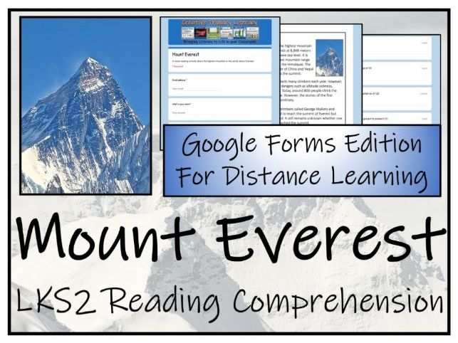 LKS2 Mount Everest Reading Comprehension & Distance Learning Activity