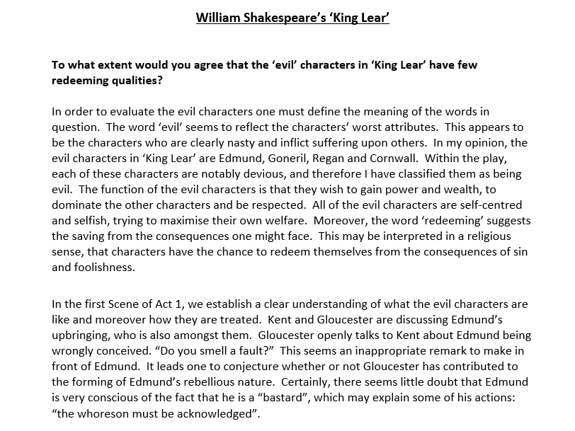 about king lear by william shakespeare essay King lear william shakespeare 350 pp, $795 order now how sharper than a serpent's tooth it is to have a thankless child one of the most popular of this edition includes new critical essays from some of the leading lights in contemporary literary scholarship as well as classic commentary from john keats , samuel.