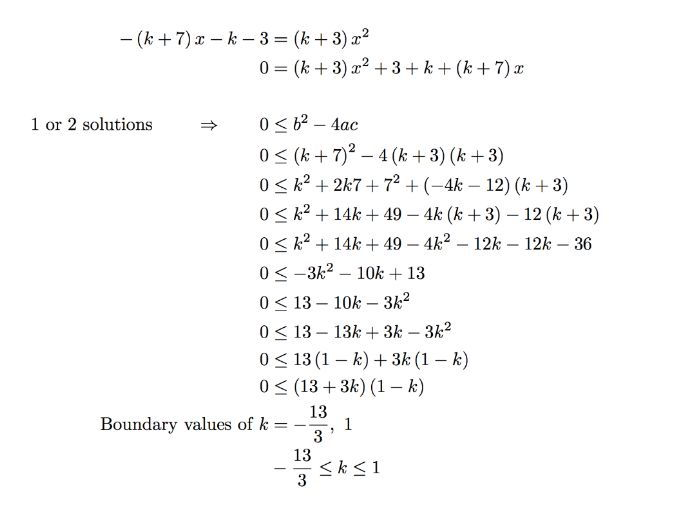 Quadratic discriminant leading to quadratic inequalities worksheet