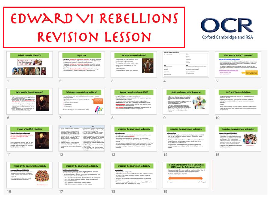 Rebellions of Edward VI REVISION
