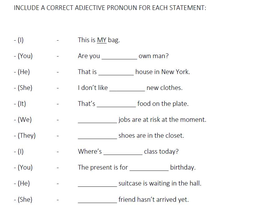 (Adjective/Possessive Pronouns + Family) (LESSON 7)