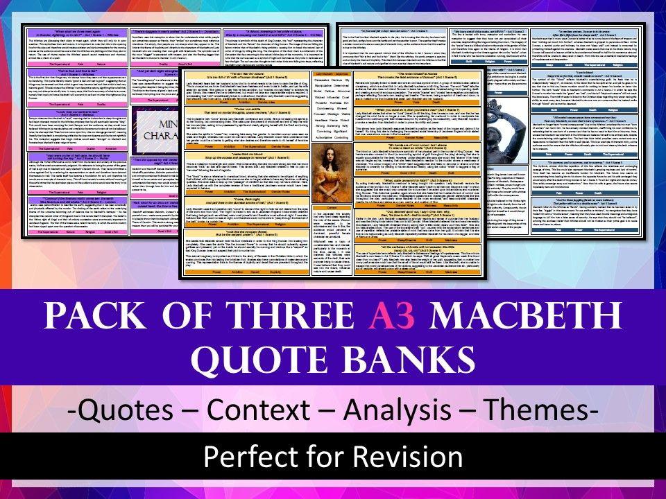 Macbeth Quote Bank Bundle - A3 - Revision