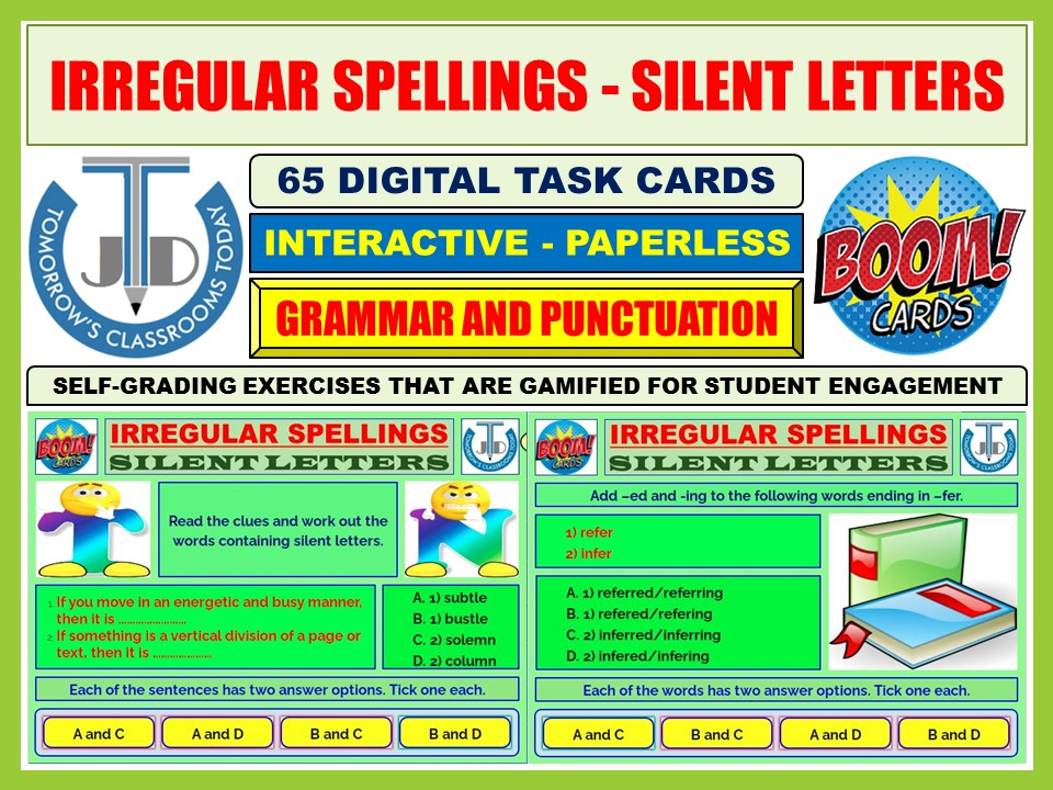 IRREGULAR SPELLINGS AND SILENT LETTERS: 65 BOOM CARDS