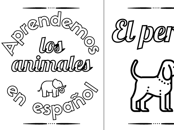 Printable Coloring Book: Learn the Animals in Spanish ~ 16 Pages ~ Homeschool ~ Preschool