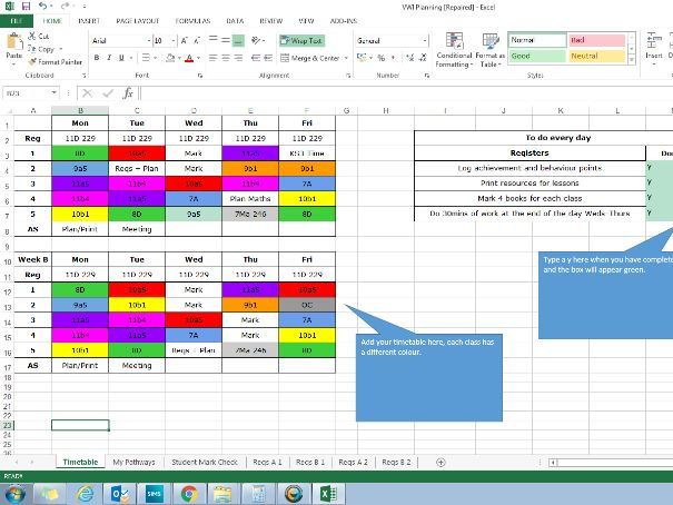 Outstanding Teacher Year Week and Lesson Planner Organiser