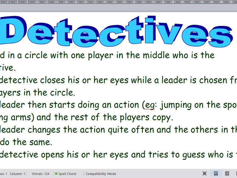 Detectives drama Activity/Warm up Game