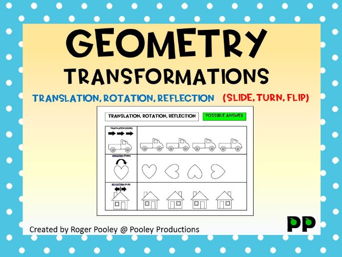 Geometry Transformations for Juniors, Translation, Rotation, Reflection, answers