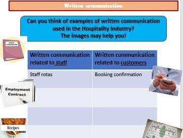 CCEA Hospitality Unit 2 - Communication