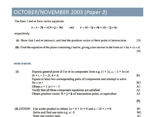 Pure Mathematics 3 Topical Past Papers (VECTORS)