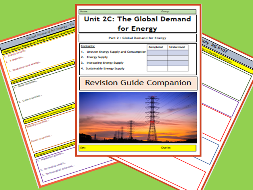 GCSE AQA 9-1 : 2C Resource Management - Energy Supply-Flipped Learning Revision Guide Companion