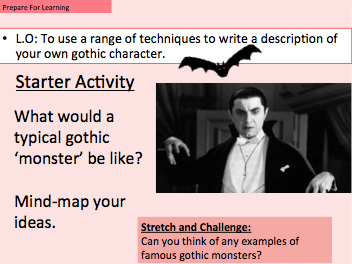Gothic Character - To use a range of techniques to write a description of a gothic character.