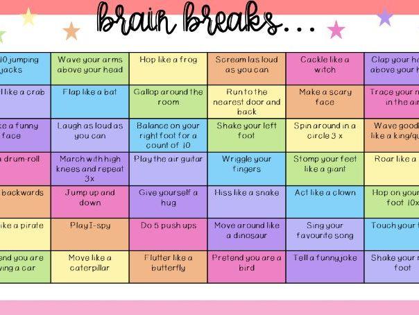 Brain Breaks Choice Board