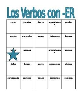 ER Verbs in Spanish Verbos con ER Bingo