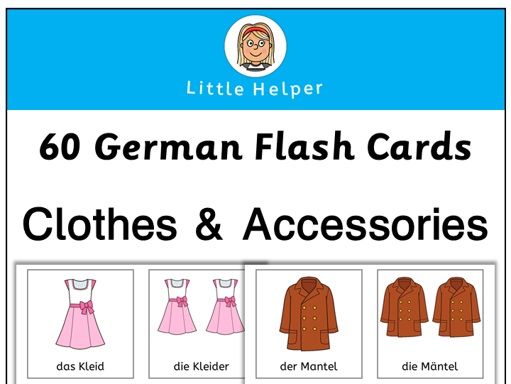 German flash cards - clothes and accessories