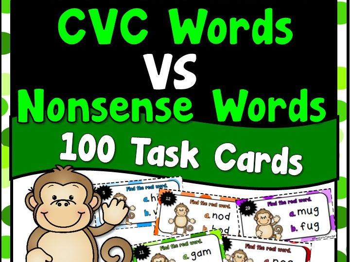 CVC Words vs Nonsense Words Task Cards