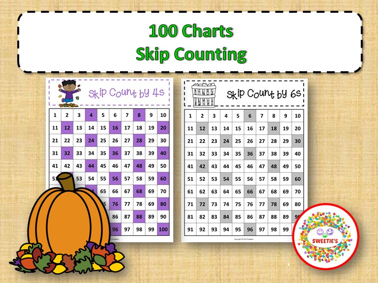 100 Number Charts with Skip Counting - Autumn