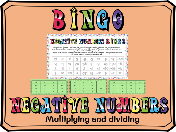 Multiplying and dividing negative numbers BINGO