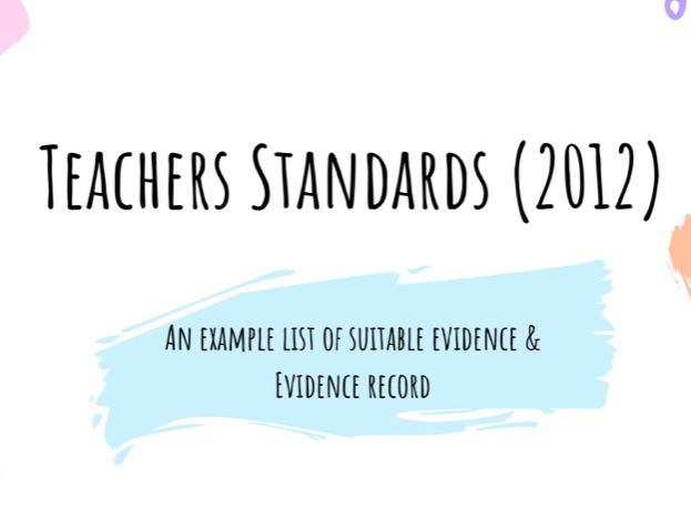 Teachers Standards Evidence Examples and Record for ITT & NQT