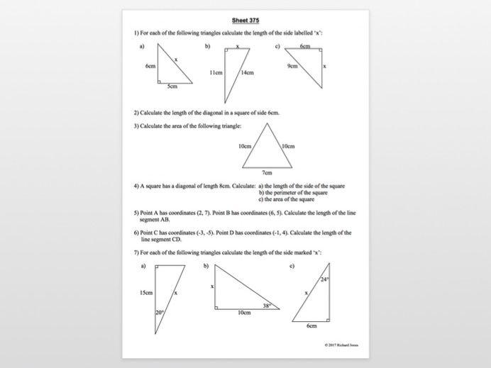 Sheets 351 - 400 from 455 Maths revision sheets