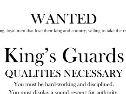 The Highwayman - Advertisement to Apply to Join the King's Guards