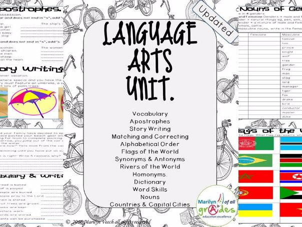 Grammar Activities - Language Arts Unit - Set 1
