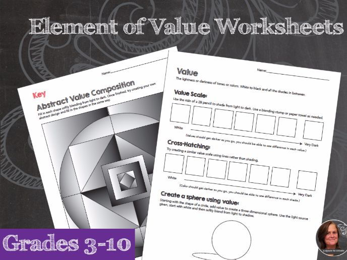 Elements of Art Worksheets Value - Blending & Cross-Hatching; Value Composition