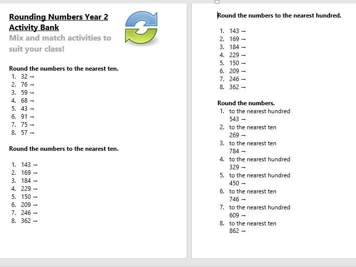 Rounding numbers Year 2 Activity Bank (Differentiated)