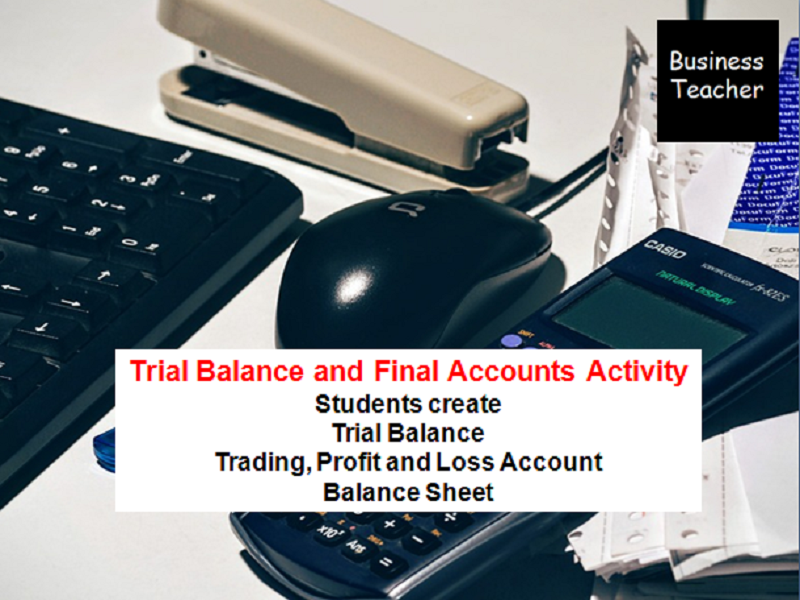 Trial Balance, Trading, Profit and Loss Account and Balance Sheet Activity - Business Studies