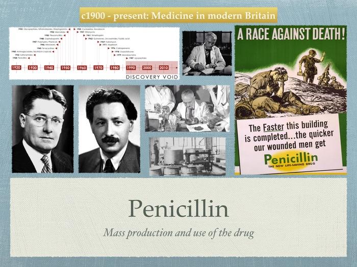 GCSE History of Medicine. 20ty Century. Penicillin, mass production and use.
