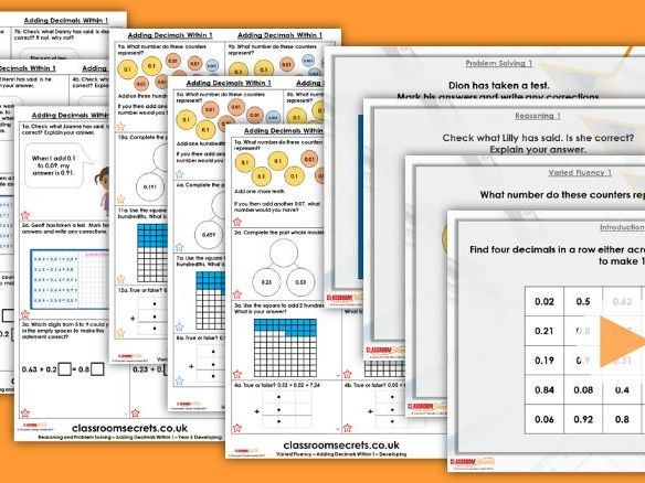 FREE Year 5 Adding Decimals within 1 Summer Block 1 Step 1 Maths Lesson Pack
