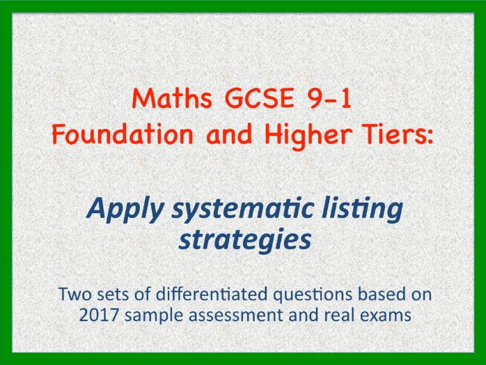 Maths GCSE 9-1 Counting Problems Foundation and Higher Tiers