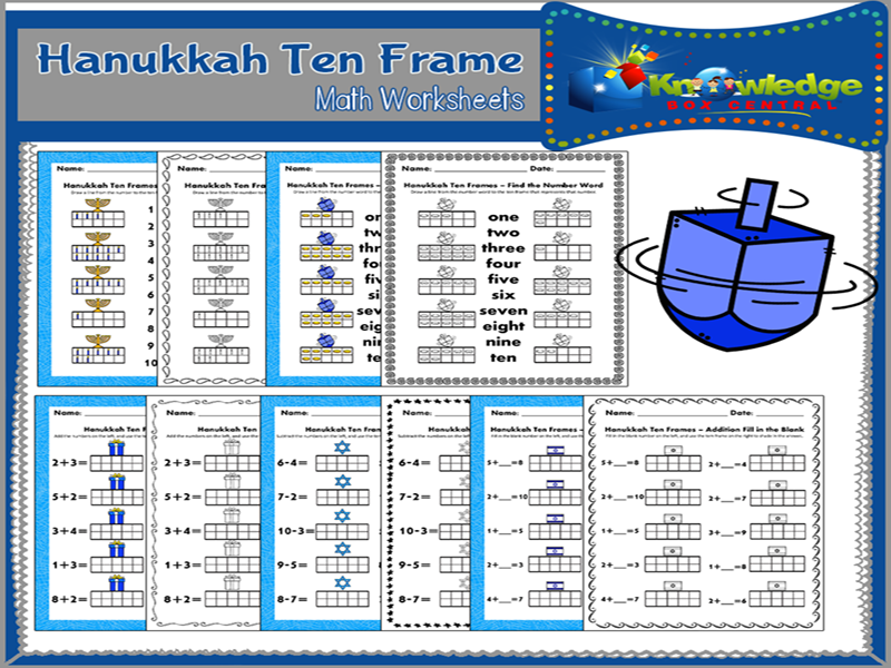 Hanukkah Ten Frame Math Worksheets