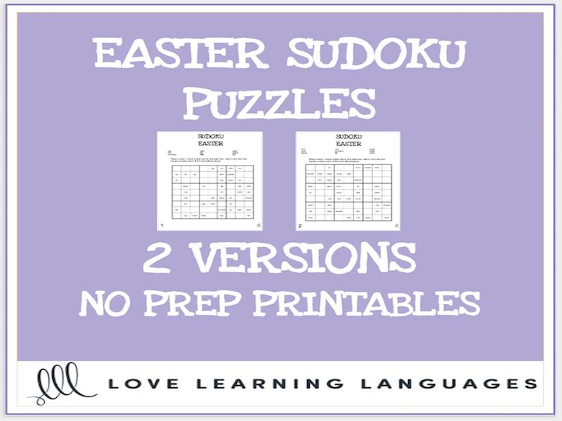Easter vocabulary sudoku puzzles