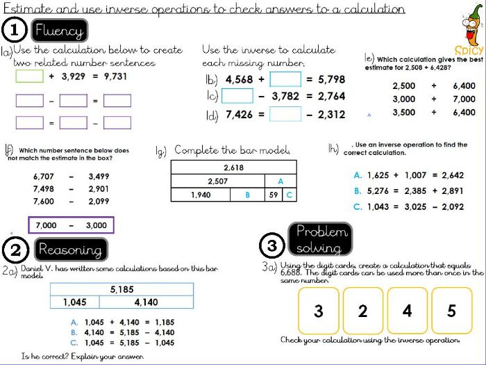 Addition  and Subtraction - Estimate and use inverse operations to check answers to a calculation.