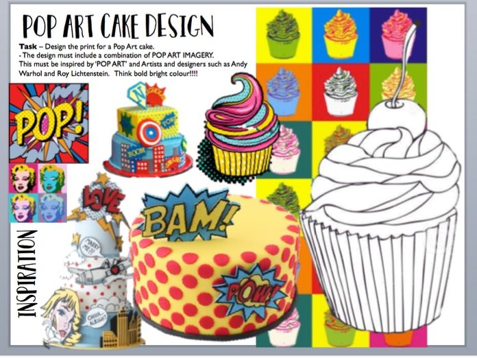 POP ART cake design cover lesson or homework sheet