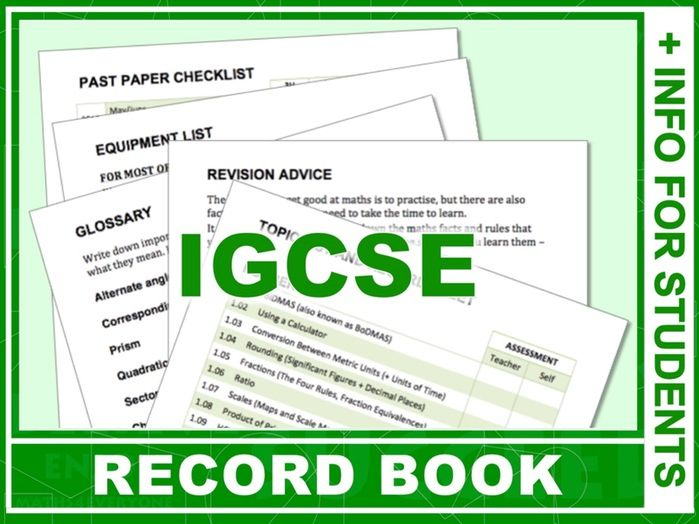 IGCSE Student Information and Record Book for Maths