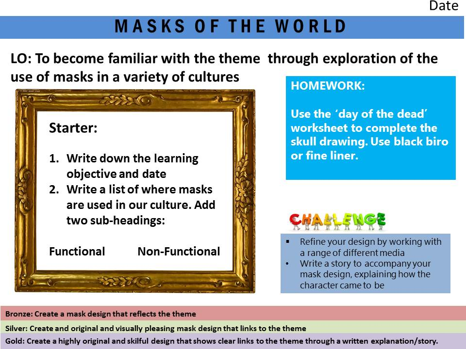Year 8 Mask Project - Lesson 1 - Introduction to project and drawing task