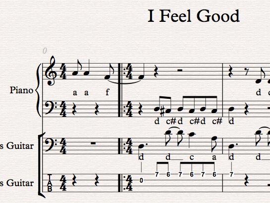 I Feel Good - easy Sibelius arrangement for BTEC or GCSE