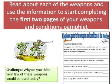 World War One - Weapons and Conditions in the trenches during WWI. (2 lessons)