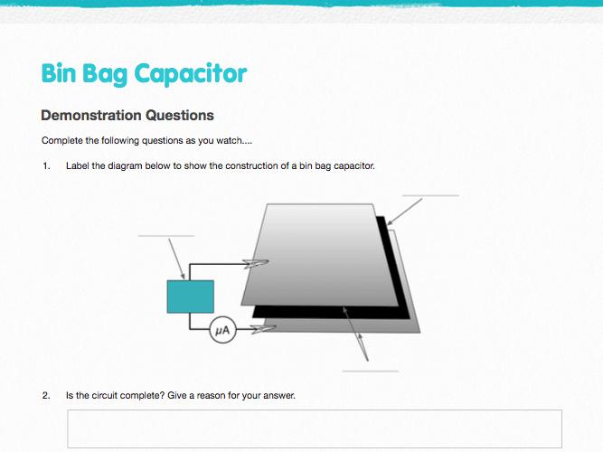 Capacitors - Starter Demonstration - Bin Bag Capacitor