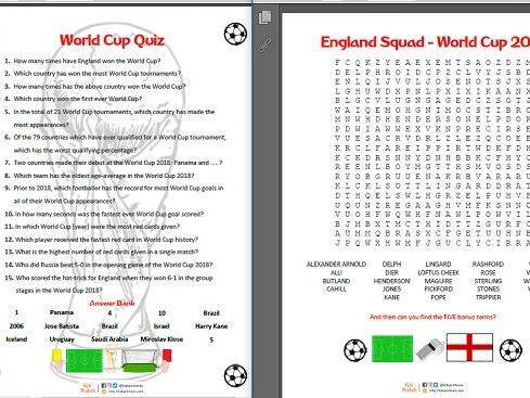 World Cup England squad (2018 and 1966) wordsearches and quiz