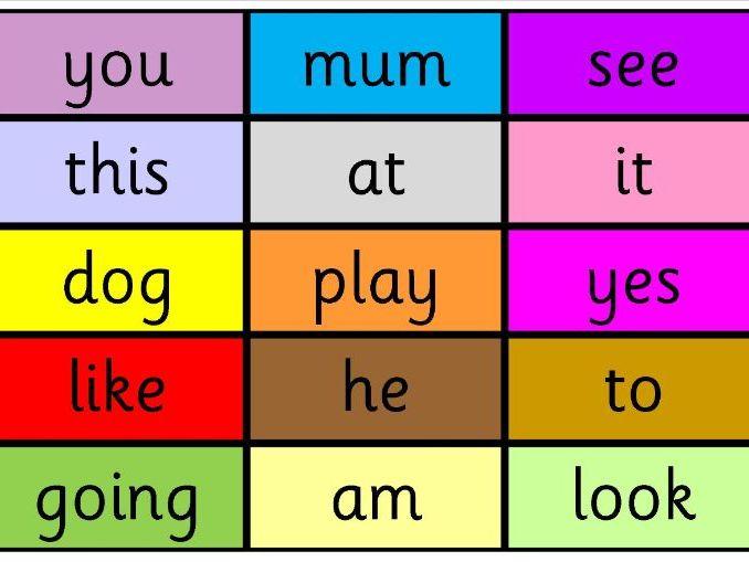 Reception class words