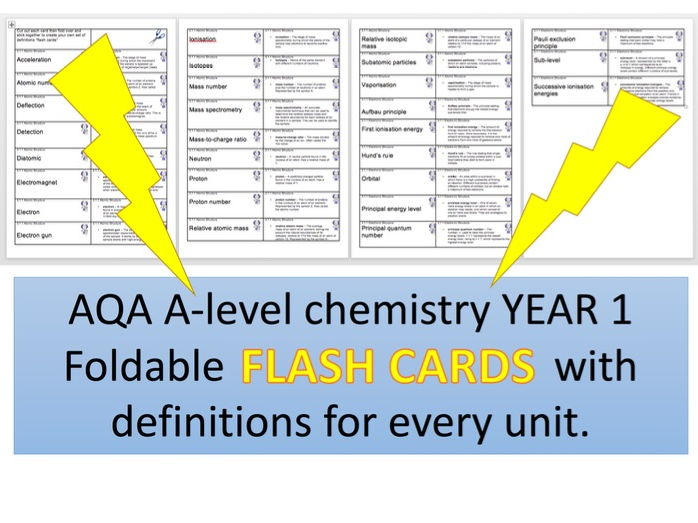 New AQA A-level Chemistry foldable FLASH CARDS of definitions for ALL year 1 and AS topics