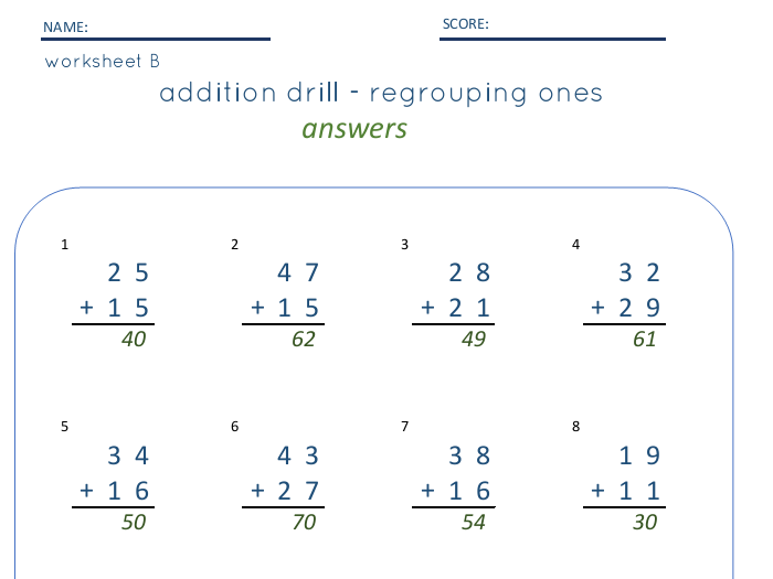 TWO Digit Addition with and without regrouping - SET of 3