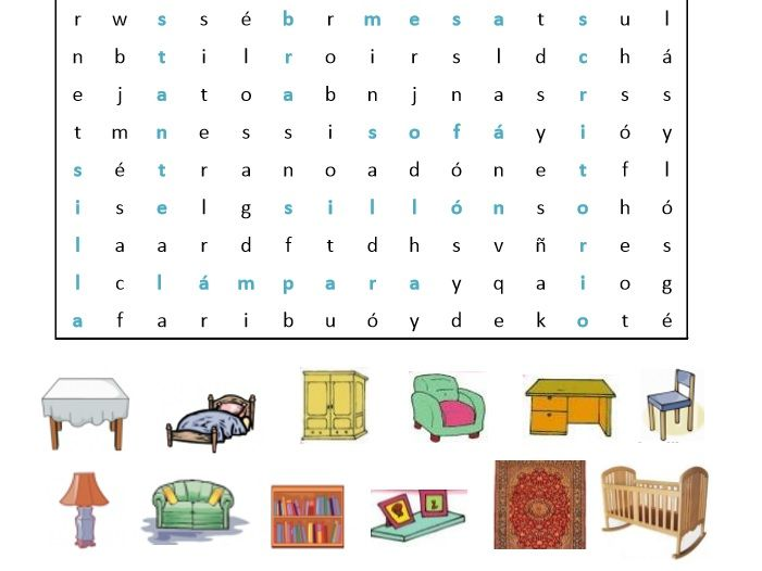 photograph relating to Printable Spanish Word Search Answers titled 4 Spanish Term Glance Puzzles with keys Colours, Times of the 7 days, Pets, Household furniture