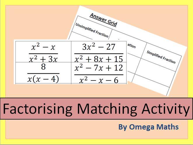 Algebraic Fractions Matching Activity