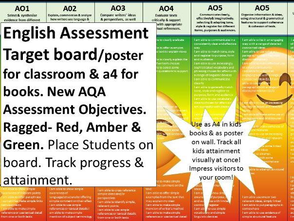 English Assessment Tracker (New AQA) AOs Ragged. Progress & Attainment visual tracker, levelled
