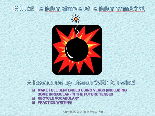 French Grammar Review Games - BOUM! Verbes irréguliers, subjonctif, futur